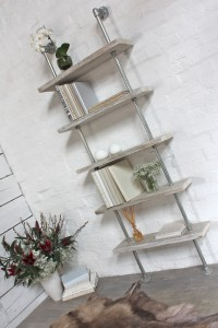 simple white washed reclaimed timber bookcase