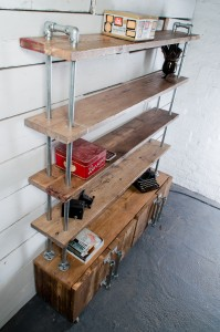 Industrial reclaimed scaffolding board bookcase with storage cupboards