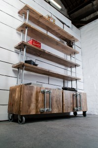 Bespoke Industrial Cupboard Unit with shelves above
