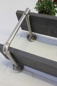Urban wall hung grey washed scaffolding shelving with threaded pipe