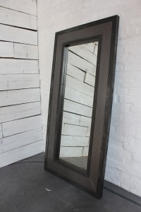Steel Clad Framed Floor Standing Distressed Mirror