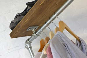 Industrial style clothes rail with storage shelf above