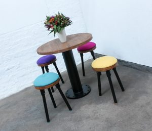 Bespoke Industrial powder coated steel table and 4 premium pure wool upholstered stools