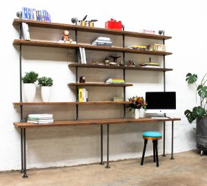 Bespoke industrial reclaimed scaffolding board and steel pipe desk and shelves