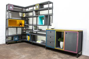 Industrial box section colorful shelves and storage unit