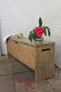 Rustic reclaimed pine storage bench
