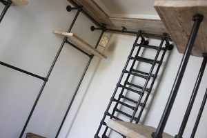 reclaimed scaffolding board and steel pipe open wardrobe with shelves