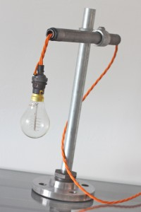 Industrial iron and galvanised steel pipe desk light