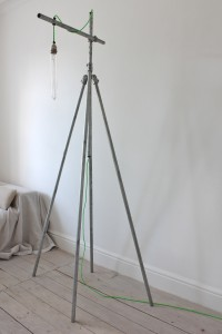 Urban steel pipe floor standing reading lamp with neon green twisted flex
