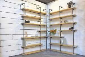 Bespoke Adjustable Honey Stained New Pine and Dark Metal Pipe, Floor and Wall Mounted, Corner Shelving Unit
