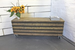Bespoke urban reclaimed scaffolding board low drawer unit on wheels