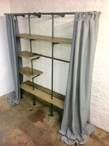 Bespoke industrial Open Wardrobe with curtains