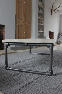 White-washed reclaimed timber Coffee Table with dark steel pipe legs