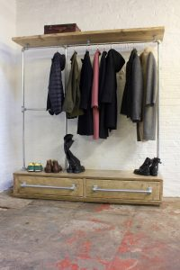 Industrial reclaimed wooden drawer unit and hanging rail