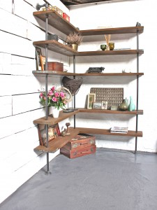 Wrap Around Corner Bookcase made from reclaimed scaffolding boards and steel pipe