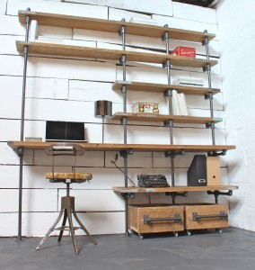 Bespoke reclaimed industrial scaffolding board desk and shelves with storage boxes on wheels