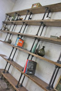 Fully Adjustable Asymmetric Reclaimed Scaffolding Timber Boards and Dark Steel Pipe Shelves