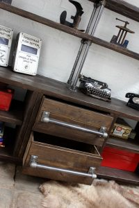 Industrial bespoke scaffolding board and pipe shelving unit