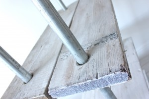 Reclaimed white washed scaffolding boards and galvanised steel pipe bookcase / shelf