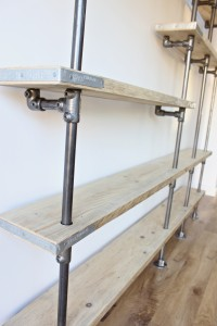 Mounted industrial reclaimed scaffolding shelving unit