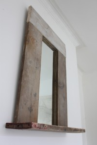 Bespoke urban reclaimed scaffolding board mirror with base shelf