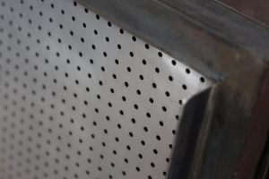 Industrial reclaimed scaffolding board and perforated steel sideboard