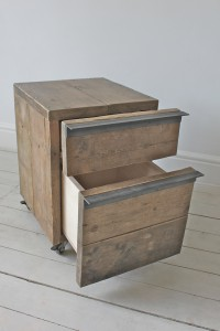 Urban bespoke reclaimed scaffolding board drawer unit on castors with angular steel handles