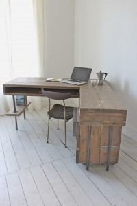 made to order industrial style corner desk with drawer unit