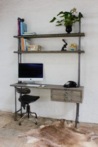 reclaimed scaffolding board industrial desk with shelving and drawers
