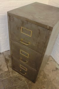 Bespoke vintage industrial reclaimed 1960s stripped and distressed bare steel 3 drawer filing cabinet