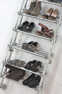 Bespoke industrial galvanised steel pipe shoe rack
