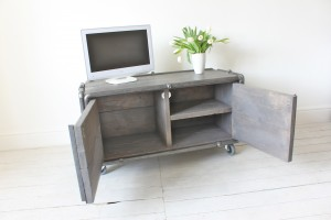 Reclaimed Grey Washed Scaffolding Board Media Unit on Castors with Dark Steel Pipe Frame