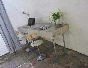 industrial reclaimed scaffolding timber boards and galvanised steel double desk