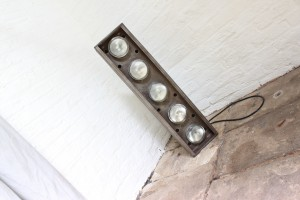 Bespoke industrial steel free standing steel floor light with car headlamps