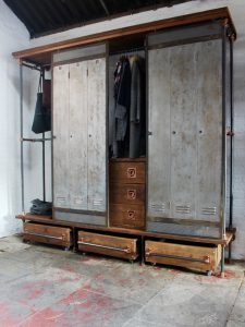 Bespoke reclaimed scaffolding board and steel pipe industrial vintage open wardrobe