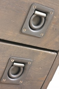 Close up of industrial drawer handles