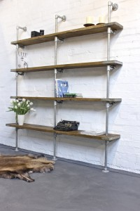 Bespoke floor standing and wall mounted shelving with pipe support