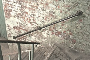 Industrial Dark Steel Pipe Staircase Hand Rail or Wall Mounted Banister
