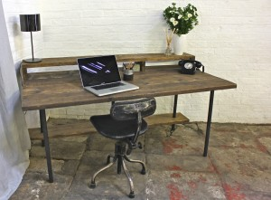 Reclaimed timber desk with steel pipe legs and shelves