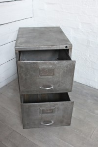 Reclaimed Vintage Urban Industrial Urban 1960s Stripped Patinated Bare Steel 2 Drawer Filing Cabinet
