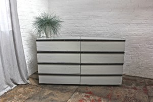 Urban reclaimed scaffolding board chest with drawers and angular steel handles