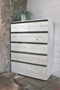 bespoke washed white scaffolding board chest of drawers with angular steel handles