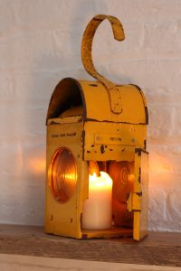 Bespoke Industrial upcycled yellow vintage urban industrial road workers / railway signalling candle holder lantern