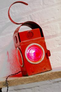 Bespoke industrial up-cycled vintage road workers / railway signalling lantern with edison bulb lamp and twisted flex
