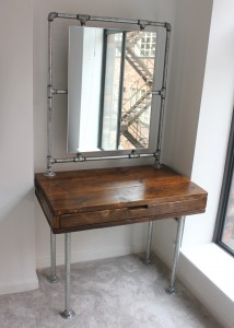Reclaimed urban scaffolding board dressing table with mirror