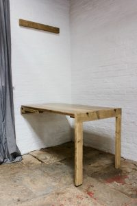 bespoke industrial wooden picture frame converting into a drop down dining table