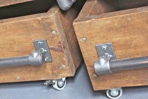 Close up of bespoke scaffolding storage boxes on wheels