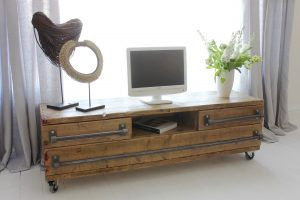 Industrial reclaimed scaffolding media unit and drawers on castors