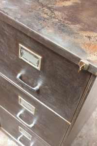 Vintage reclaimed 1960s steel 3 drawer filing cabinet