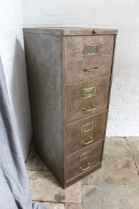 Vintage reclaimed 1940s stripped steel filing cabinet with 4 drawers